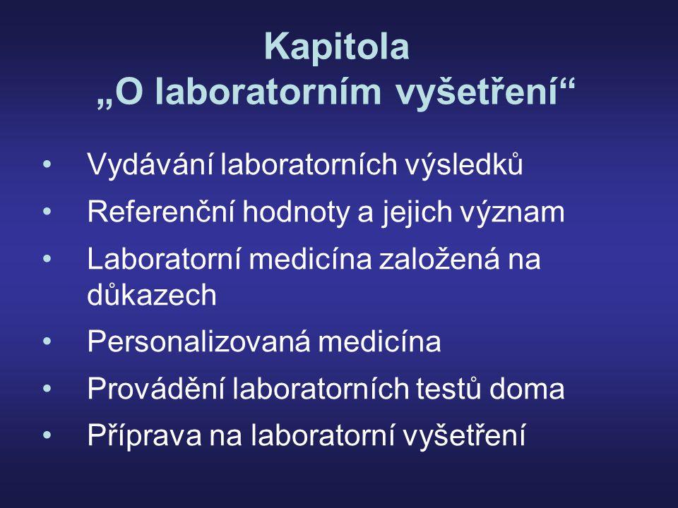 """Kapitola """"O laboratorním vyšetření Vydávání laboratorních výsledků Referenční hodnoty a jejich význam Laboratorní medicína založená na důkazech Personalizovaná medicína Provádění laboratorních testů doma Příprava na laboratorní vyšetření"""