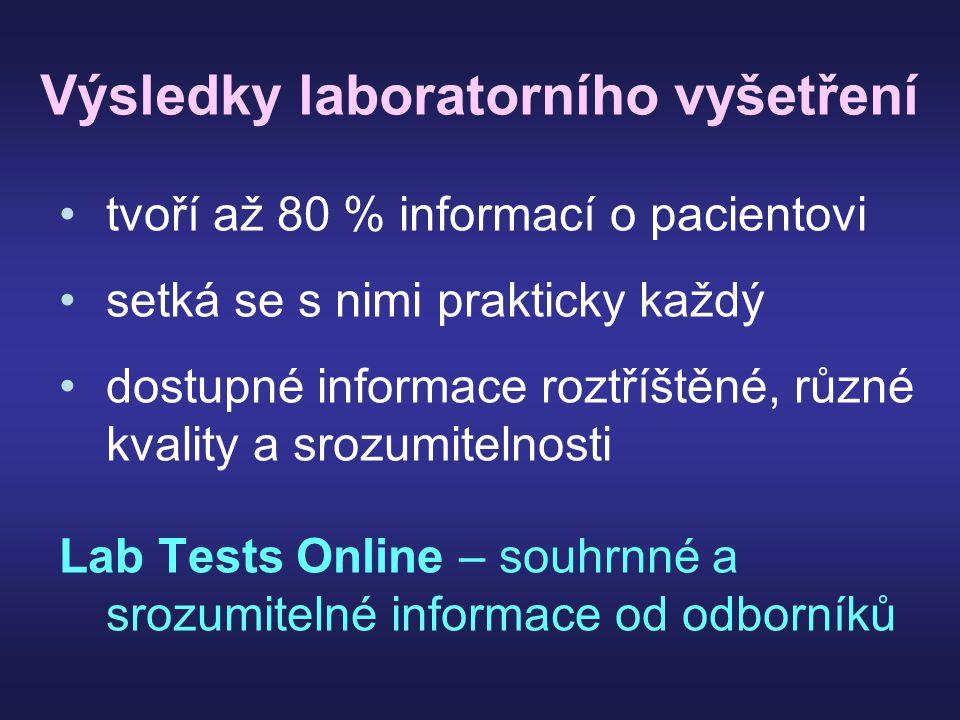 Výsledky laboratorního vyšetření tvoří až 80 % informací o pacientovi setká se s nimi prakticky každý dostupné informace roztříštěné, různé kvality a srozumitelnosti Lab Tests Online – souhrnné a srozumitelné informace od odborníků