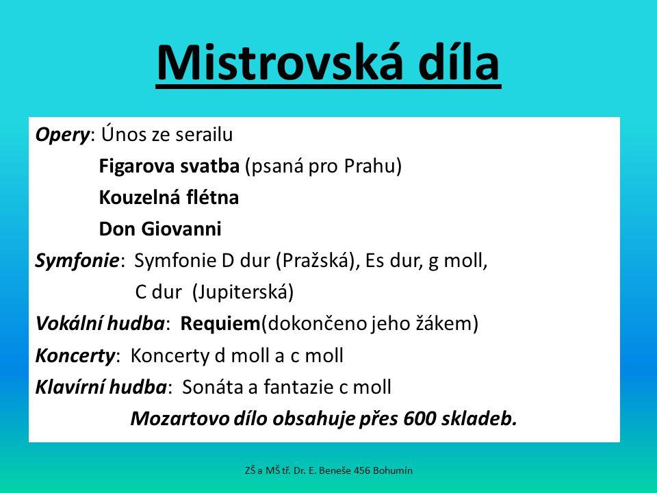 Mistrovská díla Opery: Únos ze serailu Figarova svatba (psaná pro Prahu) Kouzelná flétna Don Giovanni Symfonie: Symfonie D dur (Pražská), Es dur, g mo