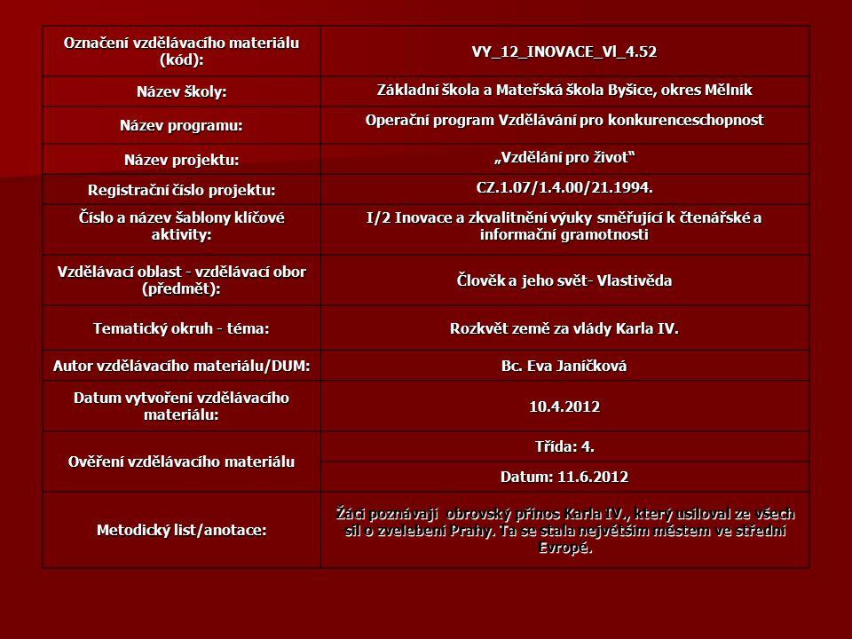 """Označení vzdělávacího materiálu (kód): VY_12_INOVACE_Vl_4.52 Název školy: Základní škola a Mateřská škola Byšice, okres Mělník Název programu: Operační program Vzdělávání pro konkurenceschopnost Název projektu: """"Vzdělání pro život Registrační číslo projektu: CZ.1.07/1.4.00/21.1994."""