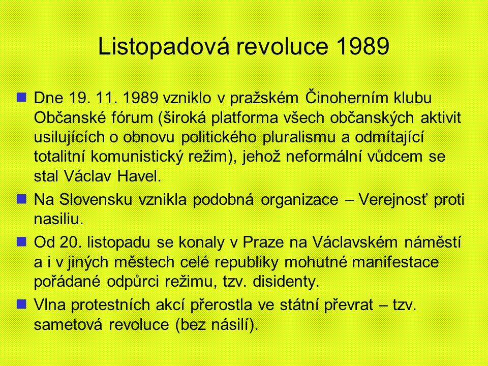 Listopadová revoluce 1989 Dne 19. 11. 1989 vzniklo v pražském Činoherním klubu Občanské fórum (široká platforma všech občanských aktivit usilujících o