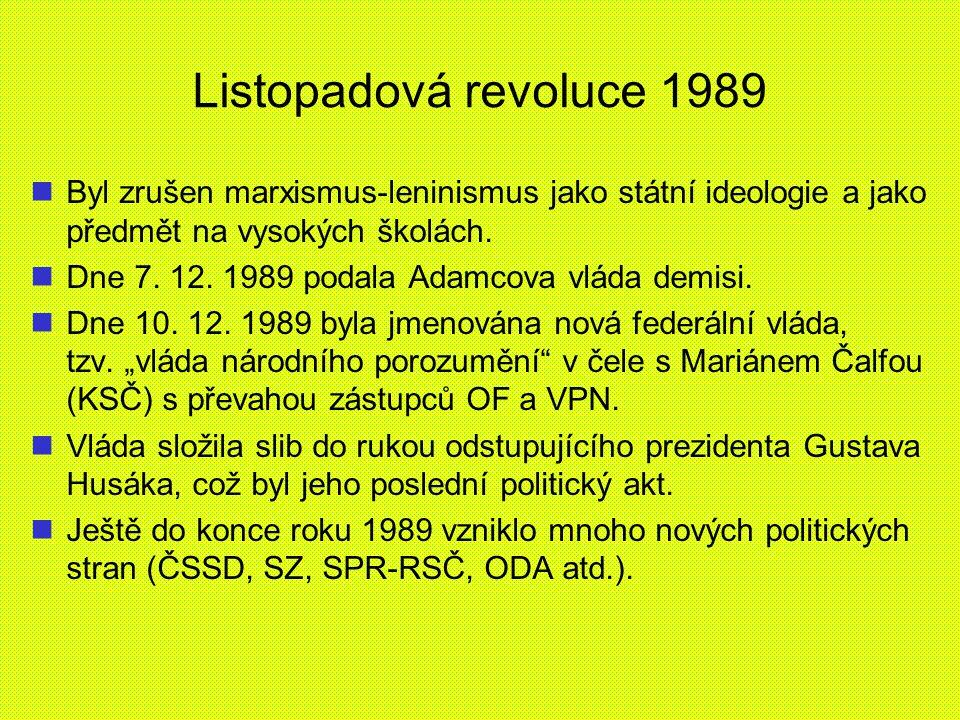 Listopadová revoluce 1989 Byl zrušen marxismus-leninismus jako státní ideologie a jako předmět na vysokých školách. Dne 7. 12. 1989 podala Adamcova vl