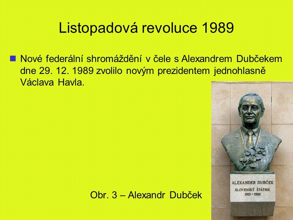 Listopadová revoluce 1989 Nové federální shromáždění v čele s Alexandrem Dubčekem dne 29. 12. 1989 zvolilo novým prezidentem jednohlasně Václava Havla