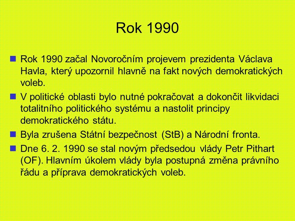 Rok 1990 Rok 1990 začal Novoročním projevem prezidenta Václava Havla, který upozornil hlavně na fakt nových demokratických voleb. V politické oblasti