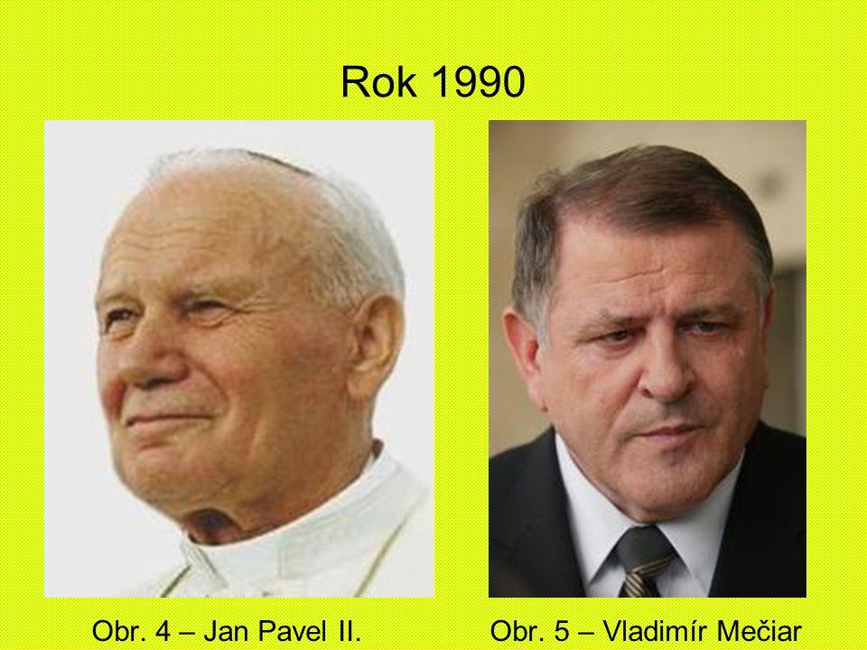 Rok 1990 Obr. 4 – Jan Pavel II. Obr. 5 – Vladimír Mečiar