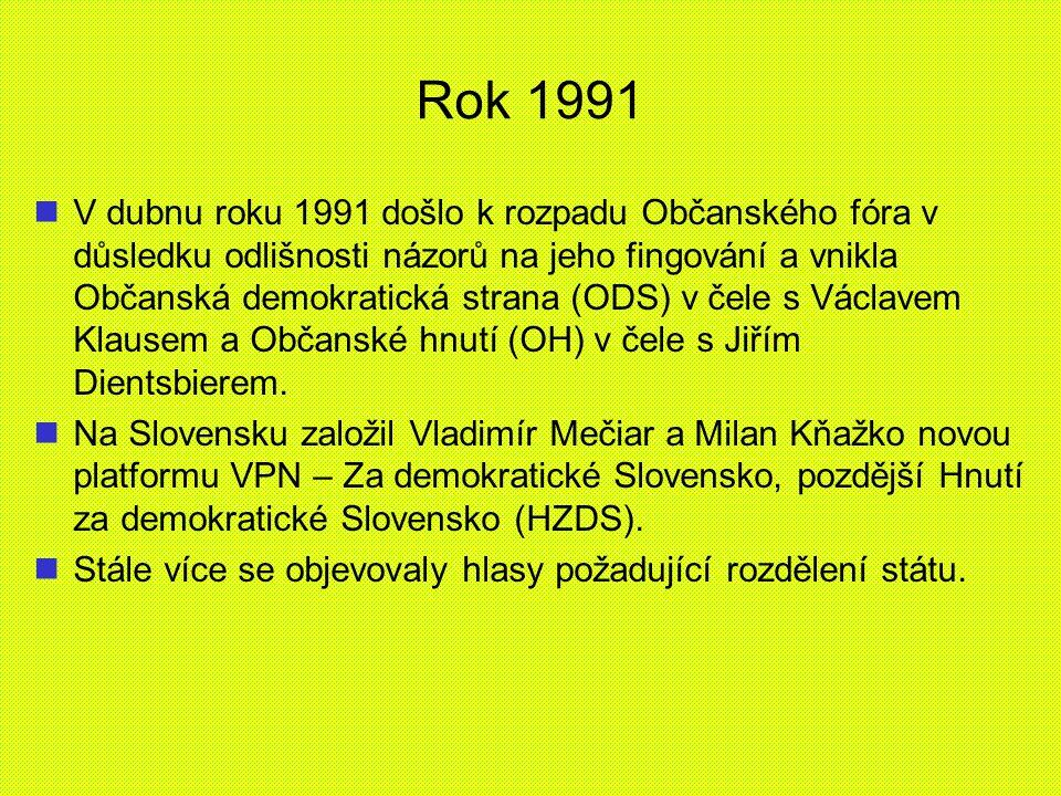 Rok 1991 V dubnu roku 1991 došlo k rozpadu Občanského fóra v důsledku odlišnosti názorů na jeho fingování a vnikla Občanská demokratická strana (ODS)