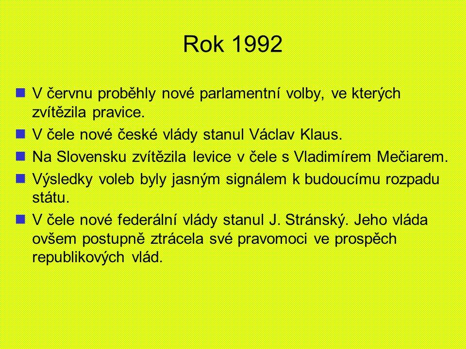 Rok 1992 V červnu proběhly nové parlamentní volby, ve kterých zvítězila pravice. V čele nové české vlády stanul Václav Klaus. Na Slovensku zvítězila l