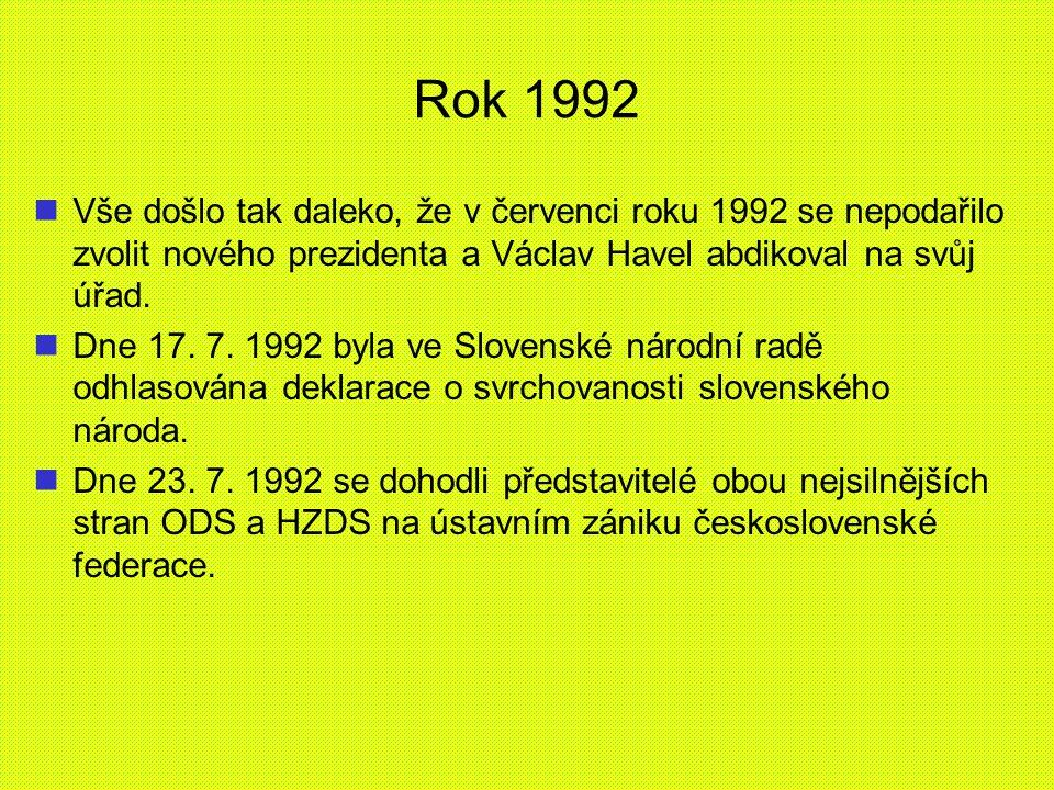 Rok 1992 Vše došlo tak daleko, že v červenci roku 1992 se nepodařilo zvolit nového prezidenta a Václav Havel abdikoval na svůj úřad. Dne 17. 7. 1992 b