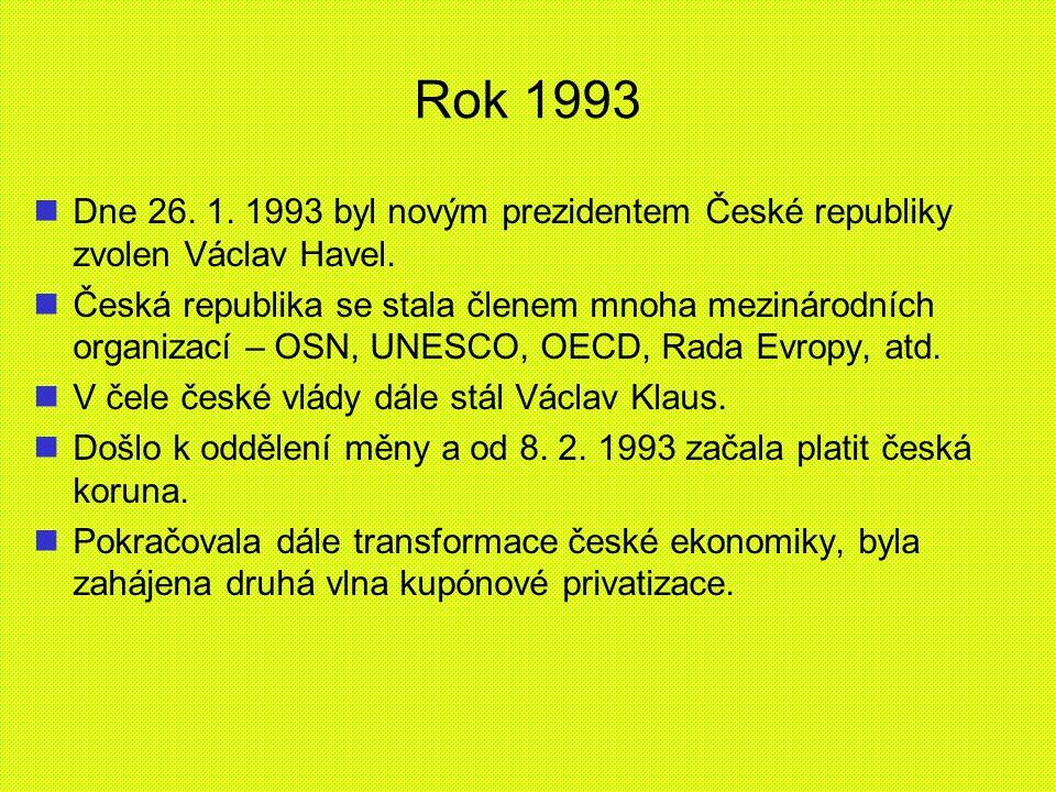 Rok 1993 Dne 26. 1. 1993 byl novým prezidentem České republiky zvolen Václav Havel. Česká republika se stala členem mnoha mezinárodních organizací – O
