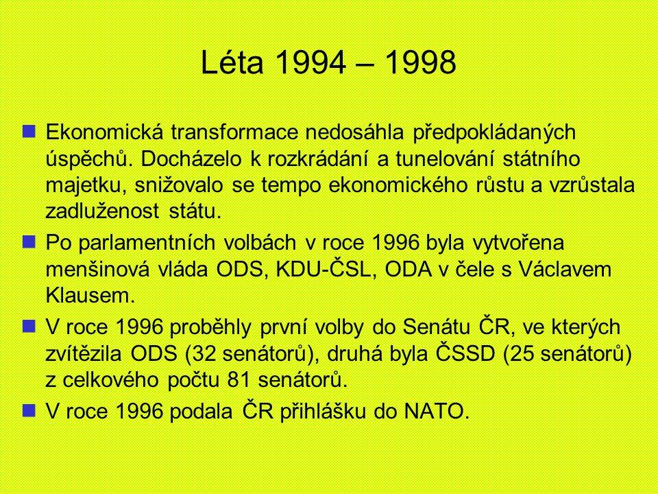 Léta 1994 – 1998 Ekonomická transformace nedosáhla předpokládaných úspěchů. Docházelo k rozkrádání a tunelování státního majetku, snižovalo se tempo e