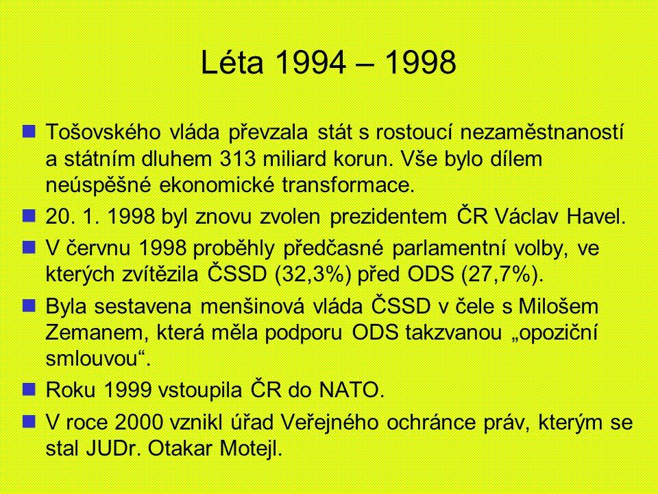 Léta 1994 – 1998 Tošovského vláda převzala stát s rostoucí nezaměstnaností a státním dluhem 313 miliard korun. Vše bylo dílem neúspěšné ekonomické tra