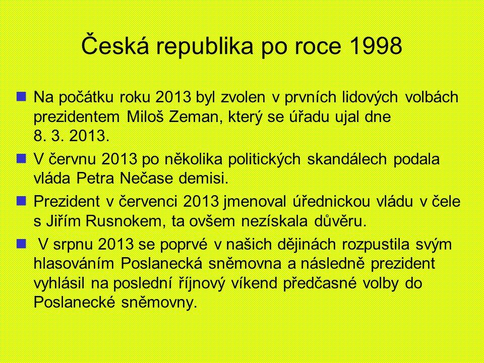 Česká republika po roce 1998 Na počátku roku 2013 byl zvolen v prvních lidových volbách prezidentem Miloš Zeman, který se úřadu ujal dne 8. 3. 2013. V