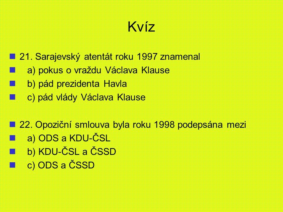 Kvíz 21. Sarajevský atentát roku 1997 znamenal a) pokus o vraždu Václava Klause b) pád prezidenta Havla c) pád vlády Václava Klause 22. Opoziční smlou