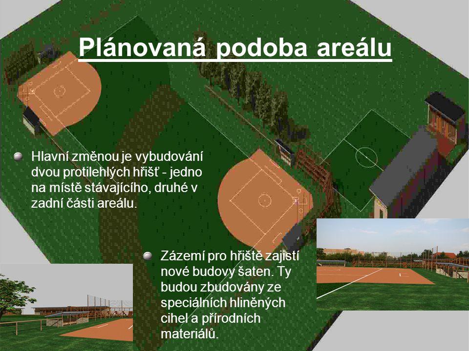 Plánovaná podoba areálu Hlavní změnou je vybudování dvou protilehlých hřišť - jedno na místě stávajícího, druhé v zadní části areálu.