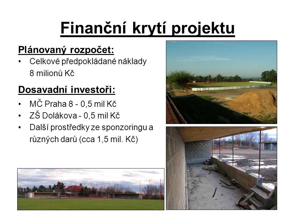 Finanční krytí projektu Plánovaný rozpočet: Celkové předpokládané náklady 8 milionů Kč Dosavadní investoři: MČ Praha 8 - 0,5 mil Kč ZŠ Dolákova - 0,5 mil Kč Další prostředky ze sponzoringu a různých darů (cca 1,5 mil.