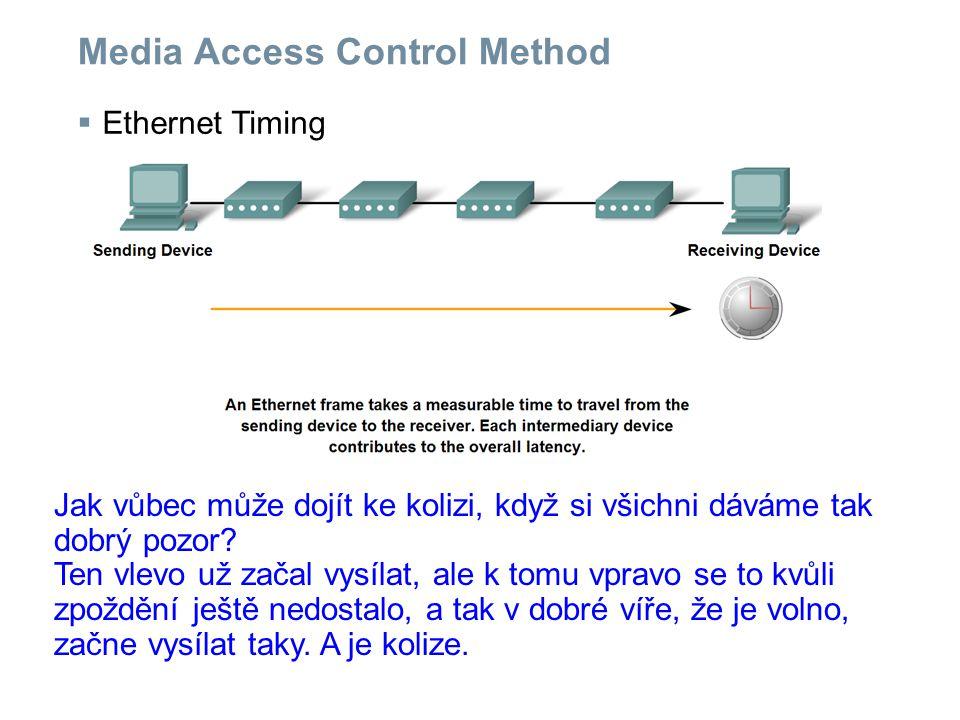 Media Access Control Method  Ethernet Timing Jak vůbec může dojít ke kolizi, když si všichni dáváme tak dobrý pozor.