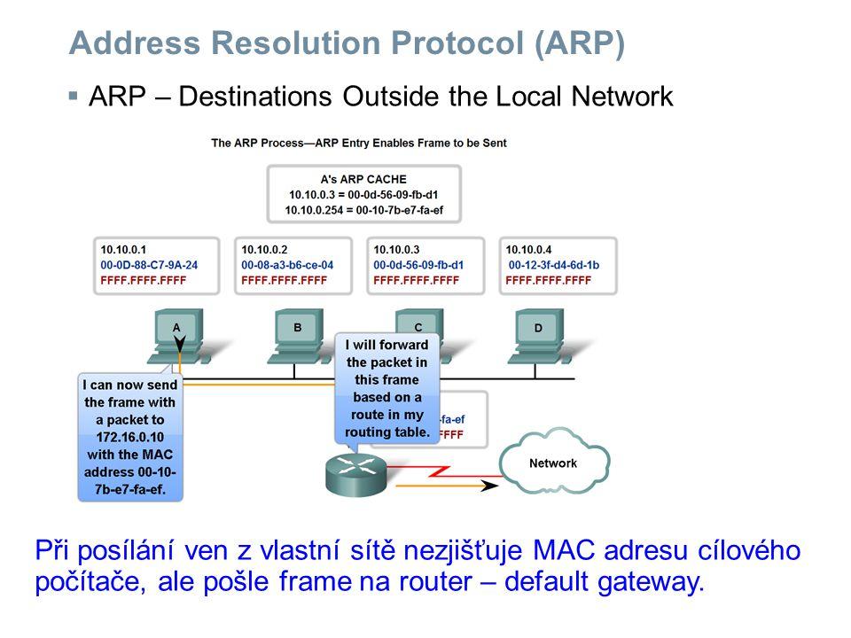 Address Resolution Protocol (ARP)  ARP – Destinations Outside the Local Network Při posílání ven z vlastní sítě nezjišťuje MAC adresu cílového počítače, ale pošle frame na router – default gateway.