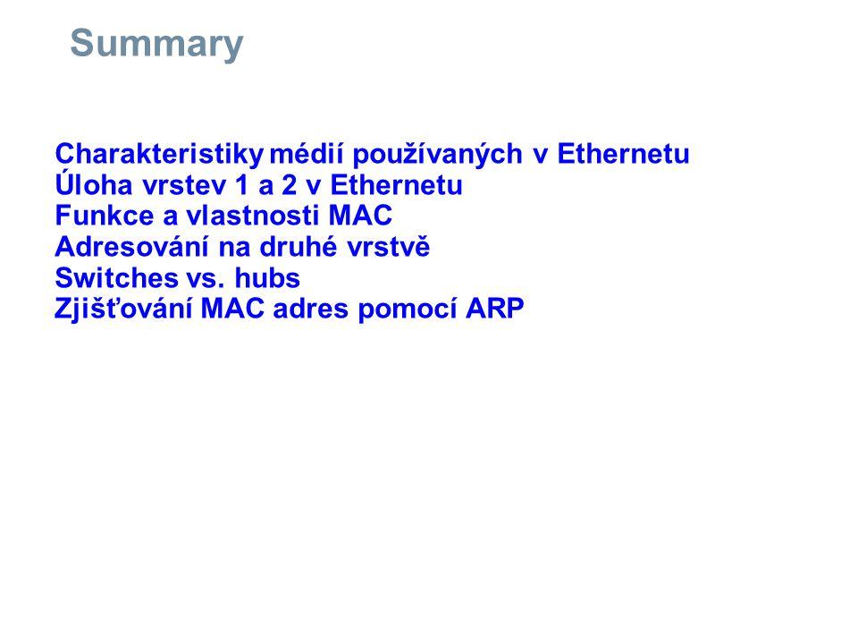 Summary Charakteristiky médií používaných v Ethernetu Úloha vrstev 1 a 2 v Ethernetu Funkce a vlastnosti MAC Adresování na druhé vrstvě Switches vs.