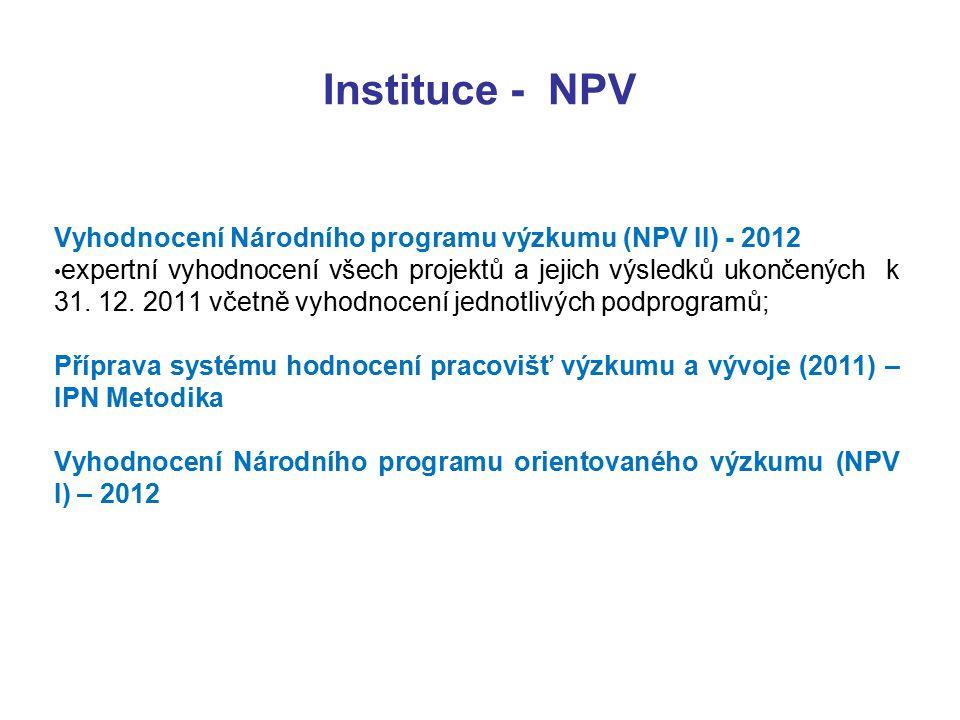 Instituce - NPV Vyhodnocení Národního programu výzkumu (NPV II) - 2012 expertní vyhodnocení všech projektů a jejich výsledků ukončených k 31.