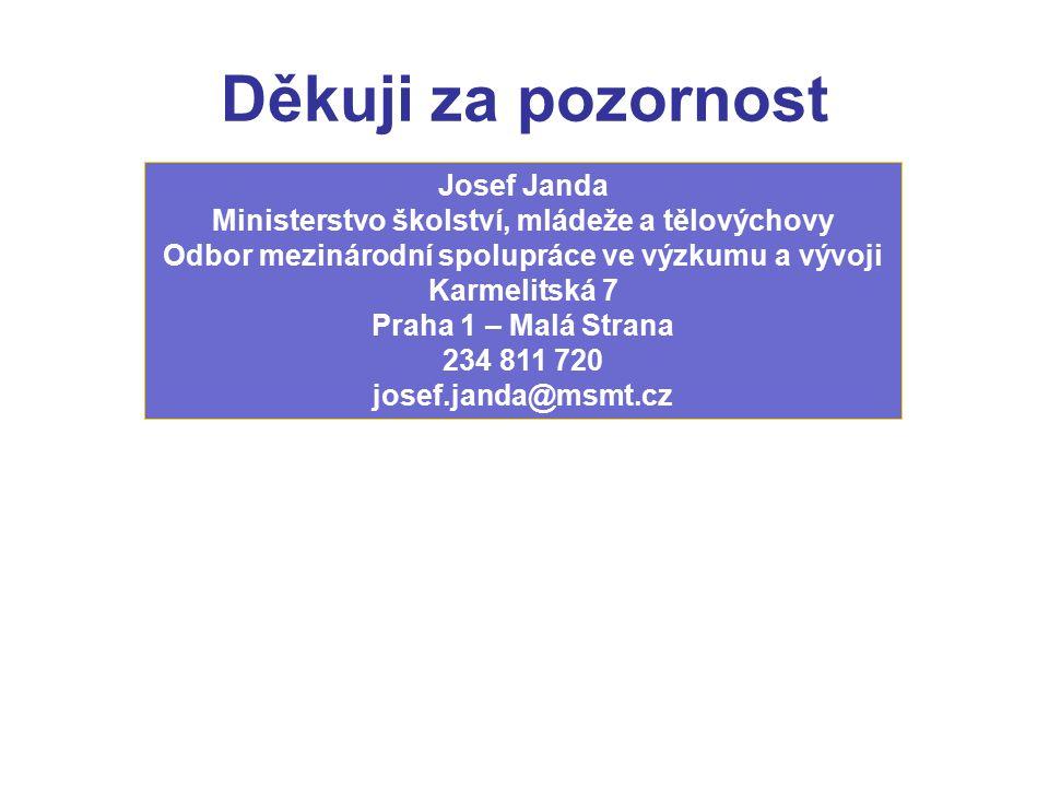 Děkuji za pozornost Josef Janda Ministerstvo školství, mládeže a tělovýchovy Odbor mezinárodní spolupráce ve výzkumu a vývoji Karmelitská 7 Praha 1 – Malá Strana 234 811 720 josef.janda@msmt.cz
