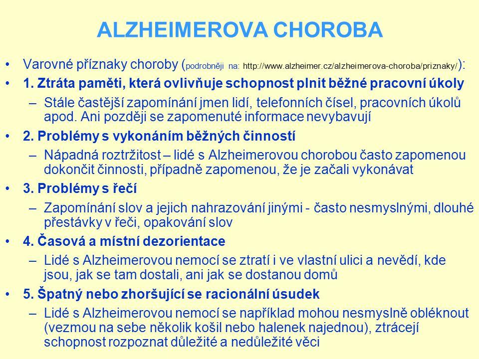 ALZHEIMEROVA CHOROBA Varovné příznaky choroby ( podrobněji na: http://www.alzheimer.cz/alzheimerova-choroba/priznaky/ ): 1. Ztráta paměti, která ovliv