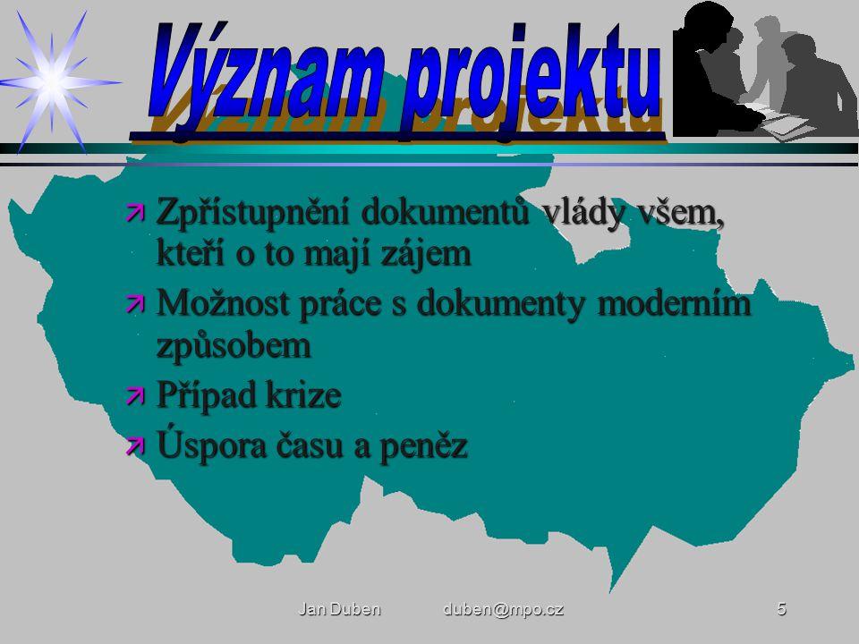 Jan Duben duben@mpo.cz5 ä Zpřístupnění dokumentů vlády všem, kteří o to mají zájem ä Možnost práce s dokumenty moderním způsobem ä Případ krize ä Úspora času a peněz