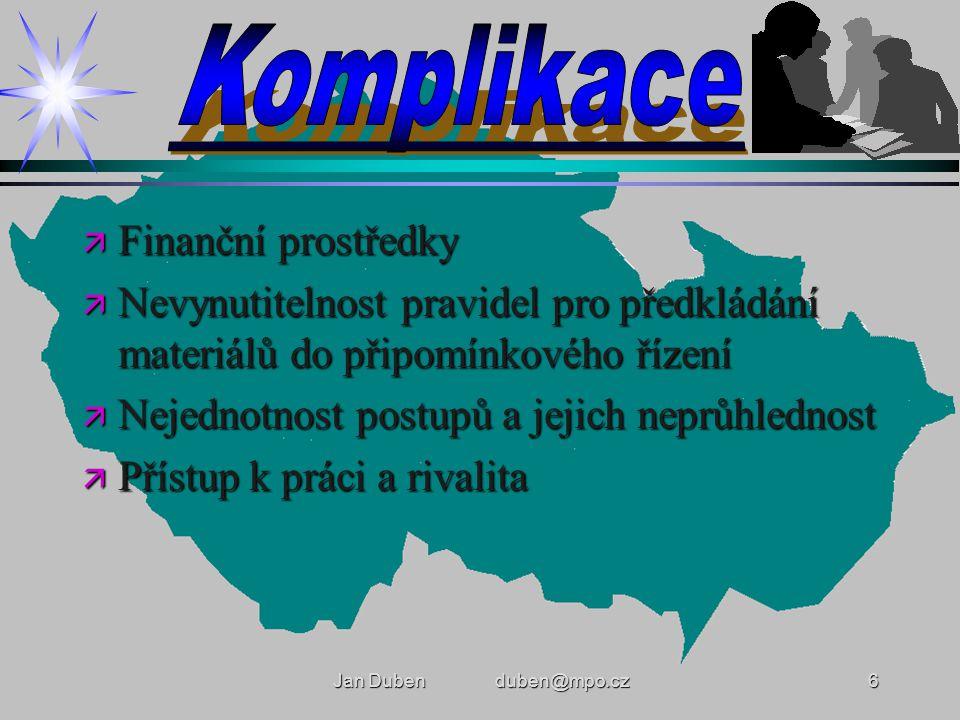 Jan Duben duben@mpo.cz6 ä Finanční prostředky ä Nevynutitelnost pravidel pro předkládání materiálů do připomínkového řízení ä Nejednotnost postupů a jejich neprůhlednost ä Přístup k práci a rivalita