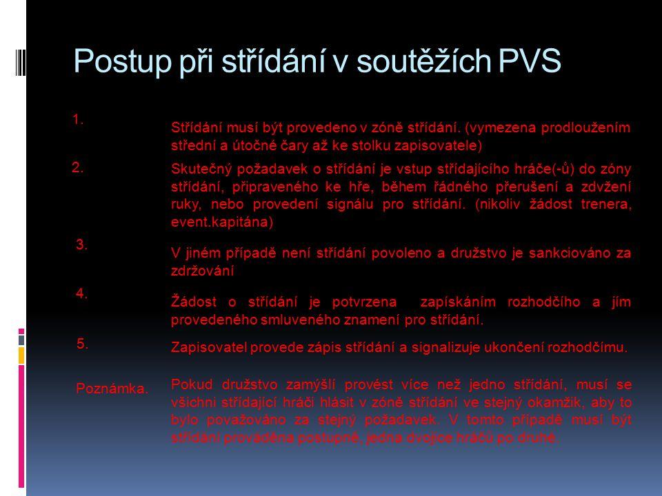 Postup při střídání v soutěžích PVS 1.1. Střídání musí být provedeno v zóně střídání.