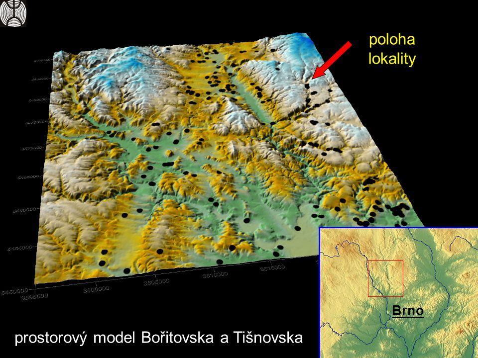 Brno poloha lokality prostorový model Bořitovska a Tišnovska
