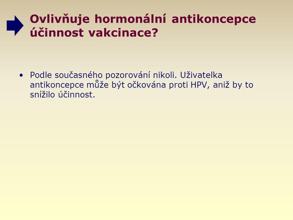 Ovlivňuje hormonální antikoncepce účinnost vakcinace? Podle současného pozorování nikoli. Uživatelka antikoncepce může být očkována proti HPV, aniž by
