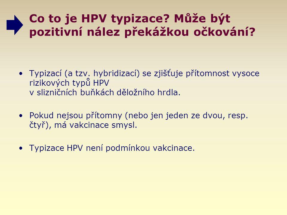Co to je HPV typizace? Může být pozitivní nález překážkou očkování? Typizací (a tzv. hybridizací) se zjišťuje přítomnost vysoce rizikových typů HPV v