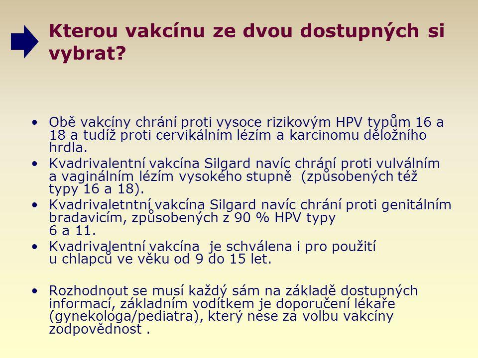 Kterou vakcínu ze dvou dostupných si vybrat? Obě vakcíny chrání proti vysoce rizikovým HPV typům 16 a 18 a tudíž proti cervikálním lézím a karcinomu d