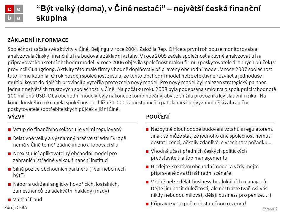 Být velký (doma), v Číně nestačí – největší česká finanční skupina Strana 2 Společnost začala své aktivity v Číně, Beijingu v roce 2004.
