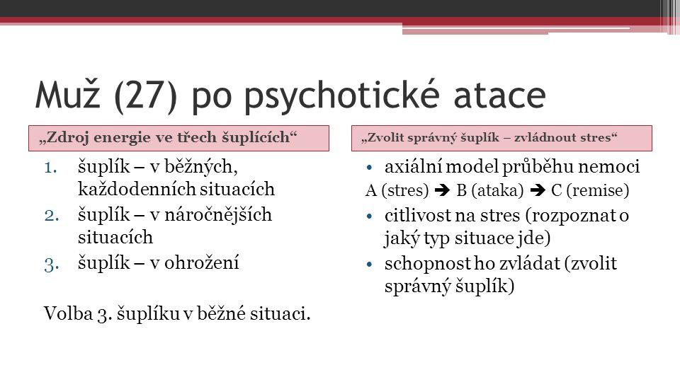 """Muž (27) po psychotické atace """"Zdroj energie ve třech šuplících """"Zvolit správný šuplík – zvládnout stres 1.šuplík – v běžných, každodenních situacích 2.šuplík – v náročnějších situacích 3.šuplík – v ohrožení Volba 3."""