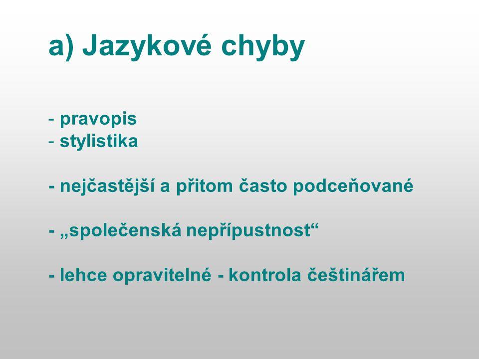 """a) Jazykové chyby - pravopis - stylistika - nejčastější a přitom často podceňované - """"společenská nepřípustnost - lehce opravitelné - kontrola češtinářem"""