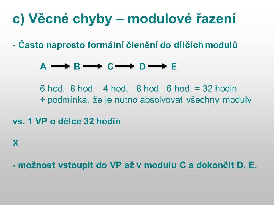 c) Věcné chyby – modulové řazení - Často naprosto formální členění do dílčích modulů A B C D E 6 hod.