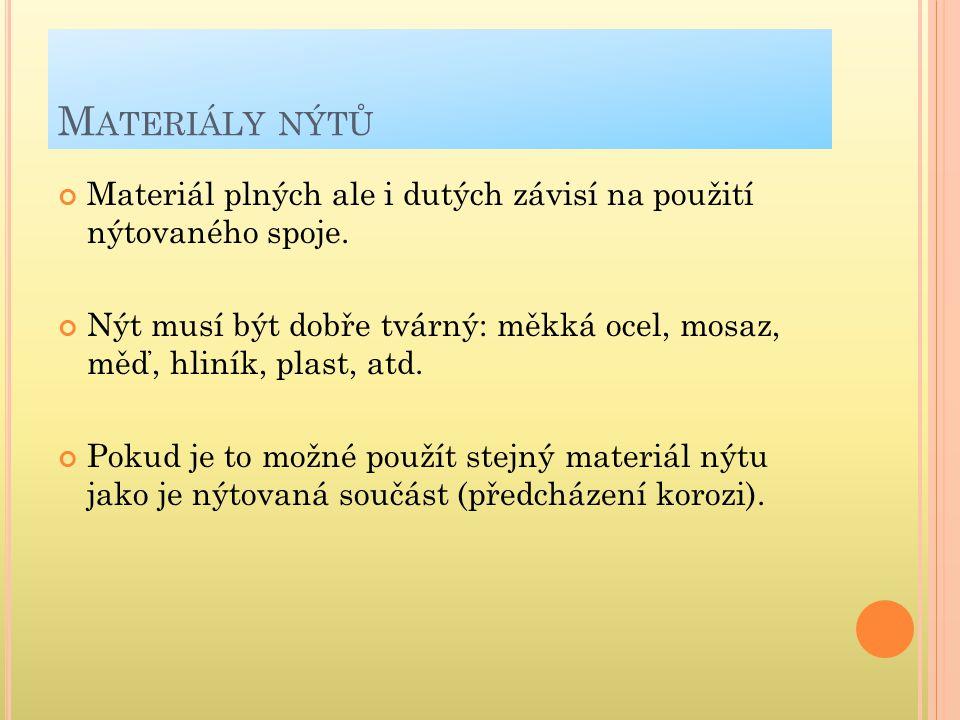 M ATERIÁLY NÝTŮ Materiál plných ale i dutých závisí na použití nýtovaného spoje. Nýt musí být dobře tvárný: měkká ocel, mosaz, měď, hliník, plast, atd