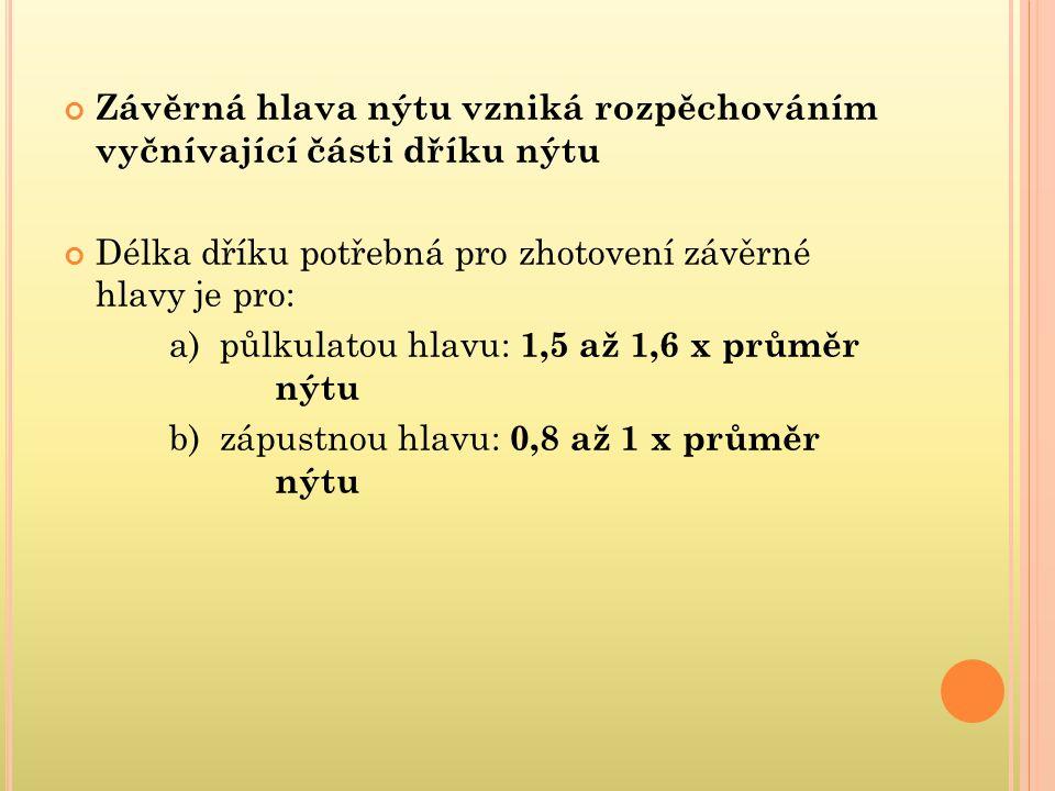 Závěrná hlava nýtu vzniká rozpěchováním vyčnívající části dříku nýtu Délka dříku potřebná pro zhotovení závěrné hlavy je pro: a) půlkulatou hlavu: 1,5