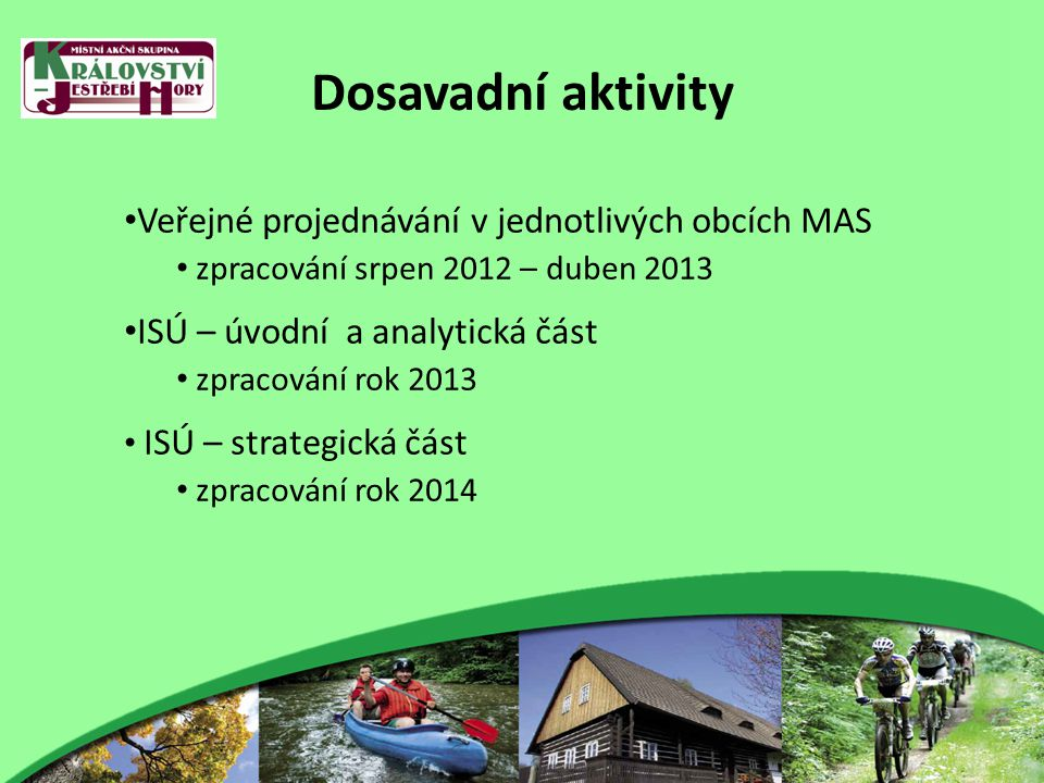 Dosavadní aktivity Veřejné projednávání v jednotlivých obcích MAS zpracování srpen 2012 – duben 2013 ISÚ – úvodní a analytická část zpracování rok 2013 ISÚ – strategická část zpracování rok 2014