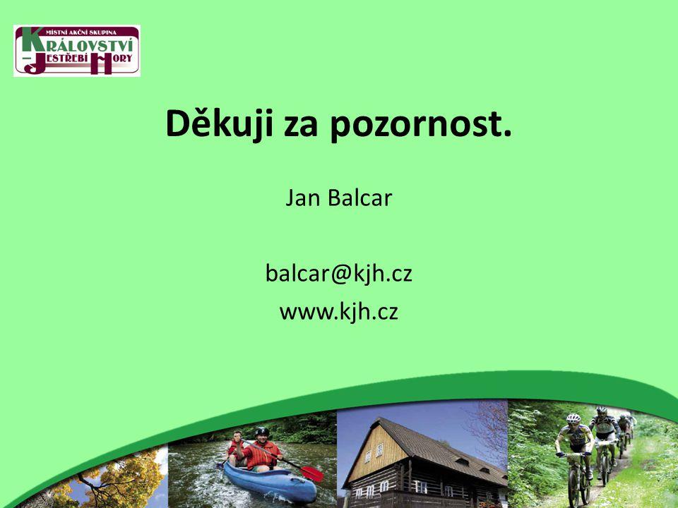 Děkuji za pozornost. Jan Balcar balcar@kjh.cz www.kjh.cz