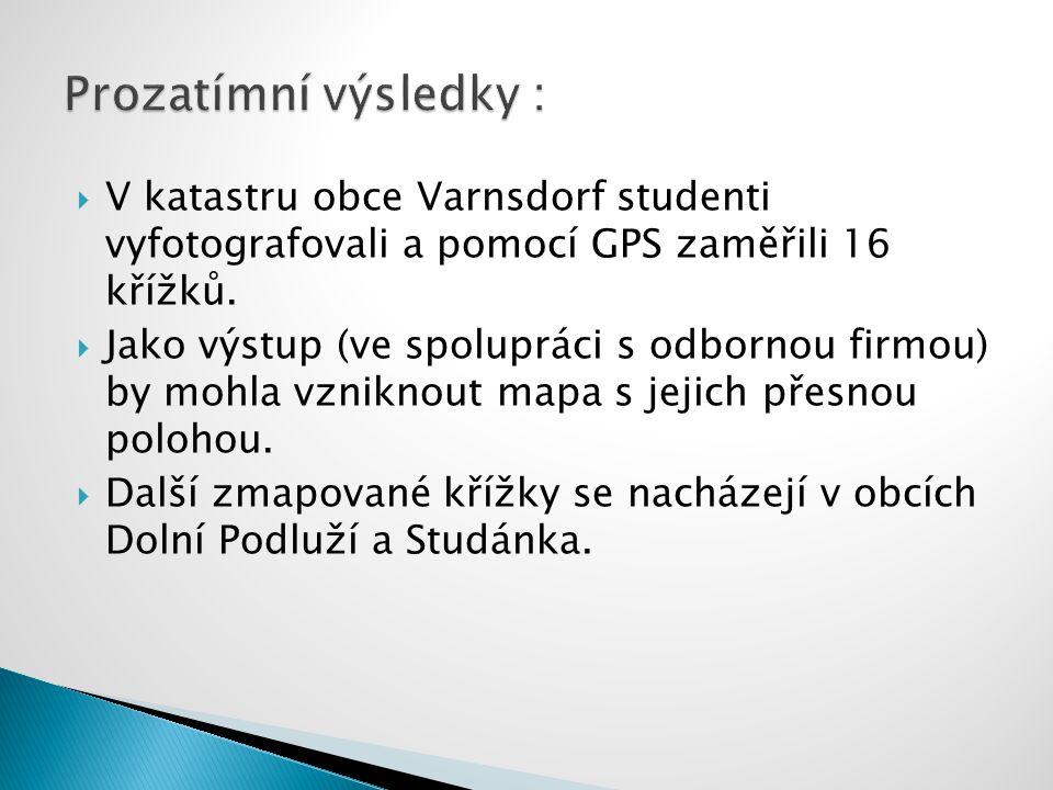  V katastru obce Varnsdorf studenti vyfotografovali a pomocí GPS zaměřili 16 křížků.