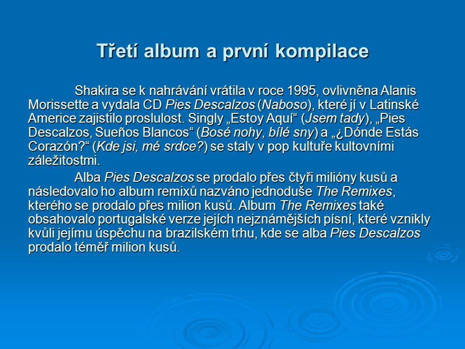 Třetí album a první kompilace Shakira se k nahrávání vrátila v roce 1995, ovlivněna Alanis Morissette a vydala CD Pies Descalzos (Naboso), které jí v Latinské Americe zajistilo proslulost.