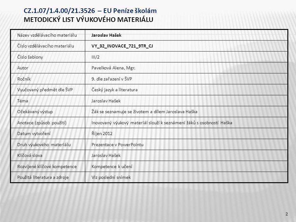 Název vzdělávacího materiáluJaroslav Hašek Číslo vzdělávacího materiáluVY_32_INOVACE_721_9TR_CJ Číslo šablonyIII/2 AutorPavelková Alena, Mgr. Ročník9.