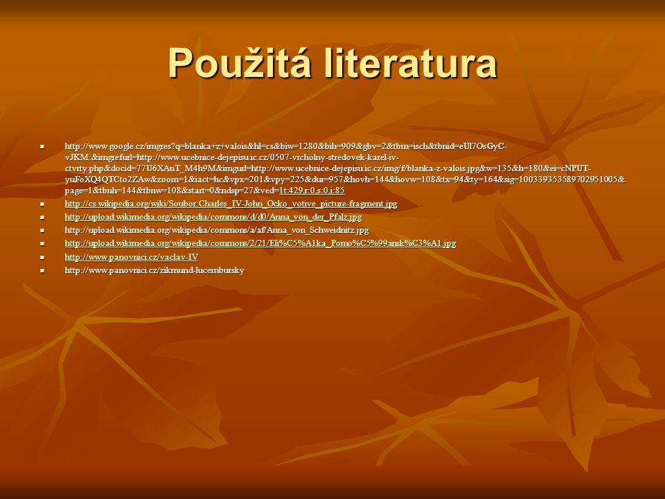 Použitá literatura http://www.google.cz/imgres?q=blanka+z+valois&hl=cs&biw=1280&bih=909&gbv=2&tbm=isch&tbnid=eUl7OsGyC- vJKM:&imgrefurl=http://www.uce