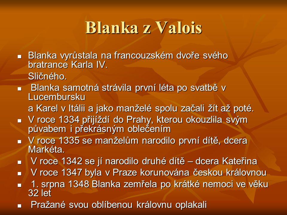 Blanka z Valois Blanka vyrůstala na francouzském dvoře svého bratrance Karla IV. Blanka vyrůstala na francouzském dvoře svého bratrance Karla IV.Sličn