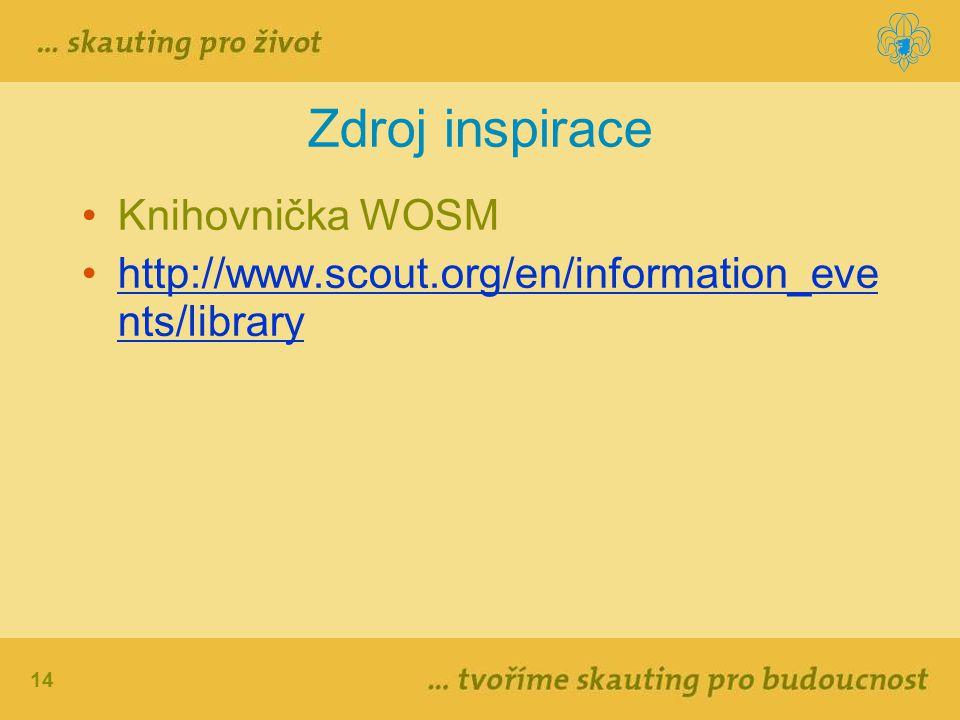 14 Zdroj inspirace Knihovnička WOSM http://www.scout.org/en/information_eve nts/libraryhttp://www.scout.org/en/information_eve nts/library