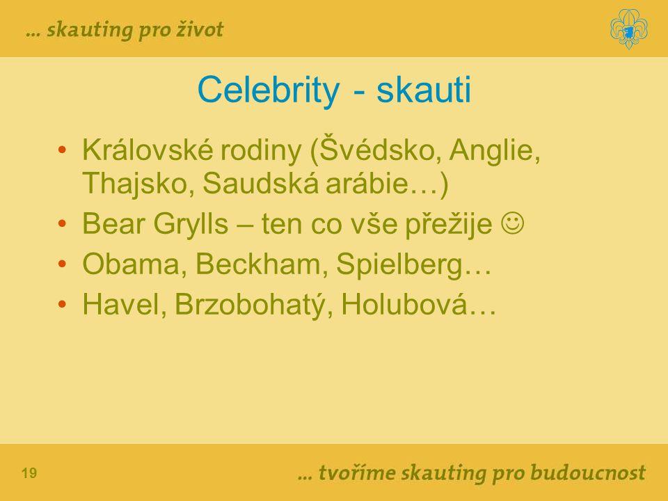 19 Celebrity - skauti Královské rodiny (Švédsko, Anglie, Thajsko, Saudská arábie…) Bear Grylls – ten co vše přežije Obama, Beckham, Spielberg… Havel,