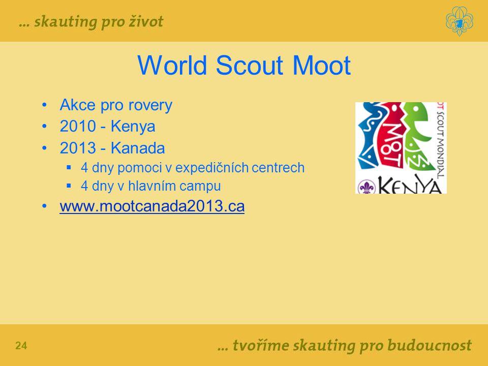 24 World Scout Moot Akce pro rovery 2010 - Kenya 2013 - Kanada  4 dny pomoci v expedičních centrech  4 dny v hlavním campu www.mootcanada2013.ca