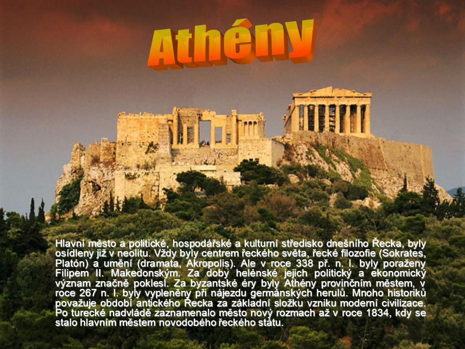 Hlavní město a politické, hospodářské a kulturní středisko dnešního Řecka, byly osídleny již v neolitu.