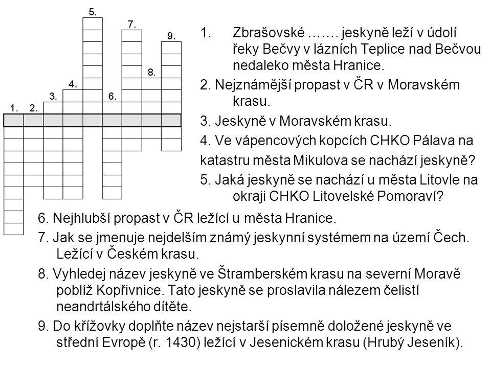 Křížovka - řešení Schéma jeskynního systému Amatérské jeskyně Tento jeskynní systém je nejdelším jeskynním systémem v České republice.
